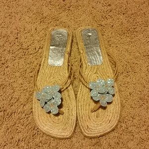 Shoes - FREE WITH PURCHASE Blue Glitter Flip Flop